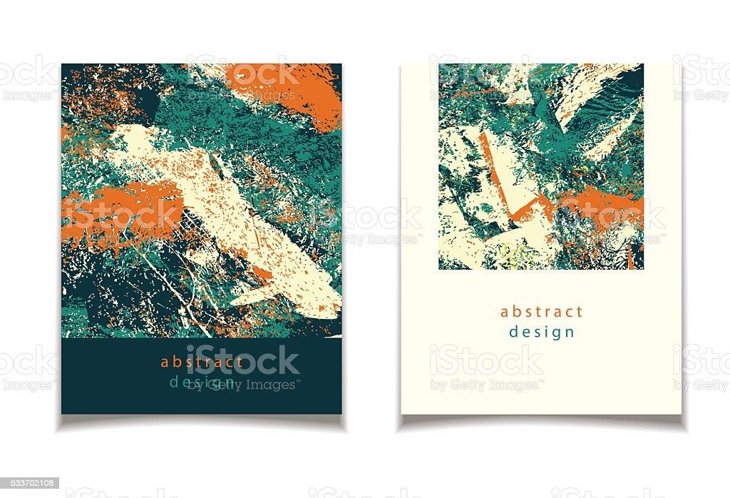 abstract green orange card vector art illustration
