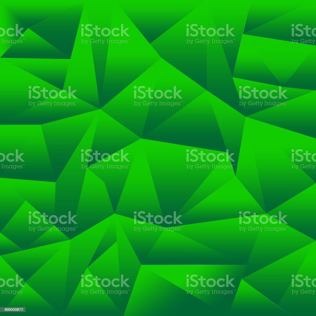 Abstract Green Polygonal Triangle Background.