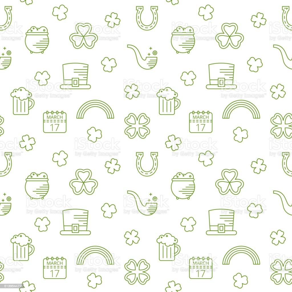 Abstract green seamless line art pattern. vector art illustration