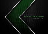 Abstract green silver line arrow on dark grey hexagon mesh design modern luxury futuristic background vector illustration.
