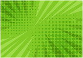 Abstract bright green striped retro comic background with halftone corners and scratches. Cartoon wallpaper with stripes and half tone pattern for comics book, advertising design, poster, print