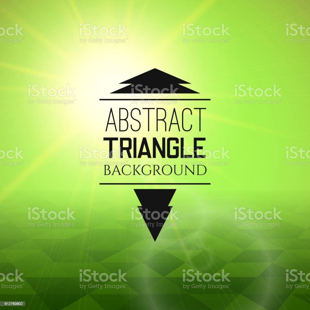 Abstract green sunset with triangle field, perspetive pattern in sunny fog vector art illustration