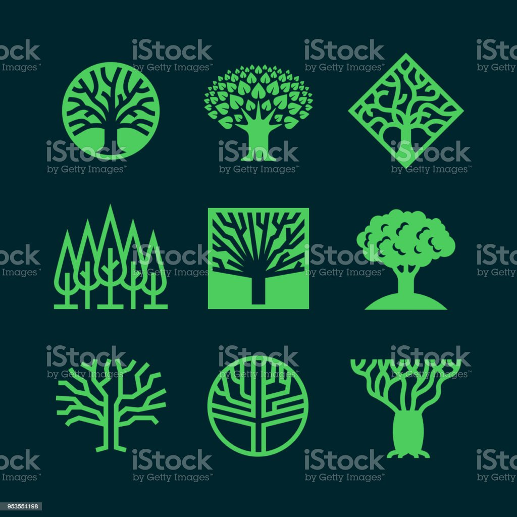 Abstract green tree logos. Creative eco forest vector badges royalty-free abstract green tree logos creative eco forest vector badges stock illustration - download image now