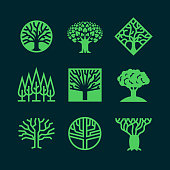 Abstract green tree logos. Creative eco forest vector badges. Eco plant, forest label silhouette illustration