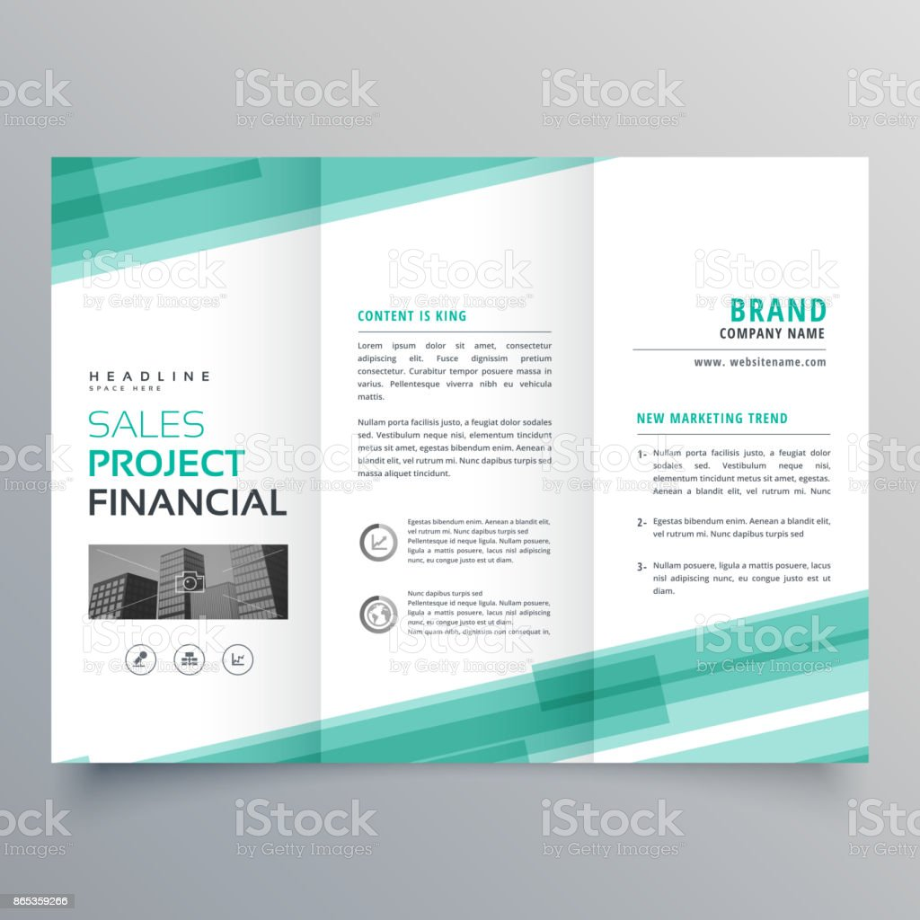 abstract green trifold template brochure design vector art illustration