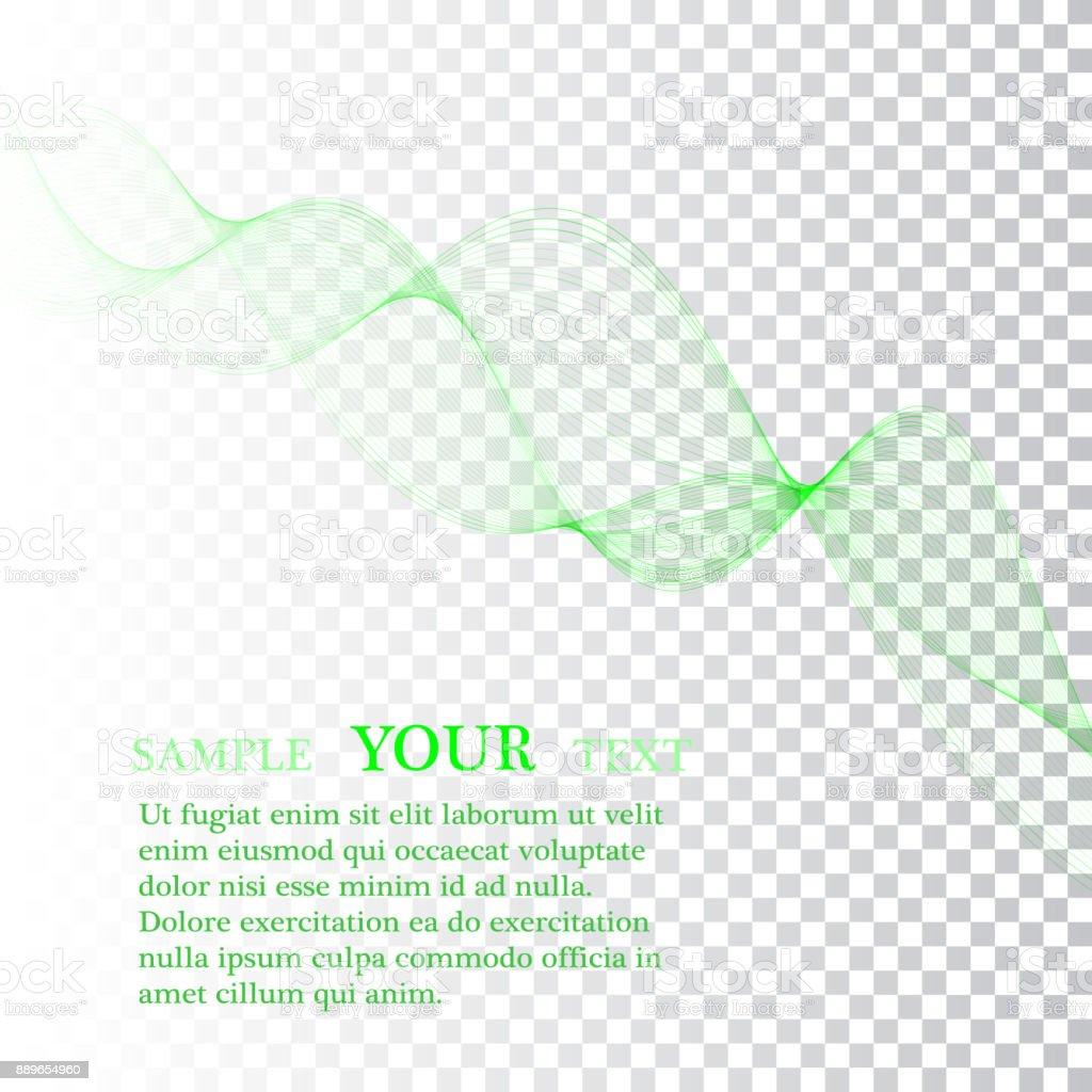 抽象的な緑色の波線カラフルなベクトルの背景透明な緑の波のライン