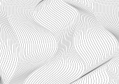 Abstract grey 3d curved waves refraction geometric background. Vector tech design
