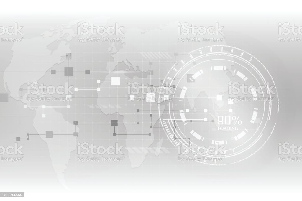 Abstract grey hi-tech futuristic background. Geometric technology vector design with gear vector art illustration