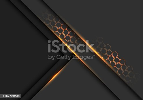 istock Abstract grey metallic overlap gold light line with hexagon pattern design modern futuristic background vector illustration. 1167588549