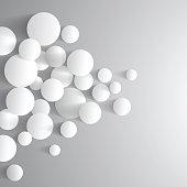Abstract grey minimal futuristic balls background