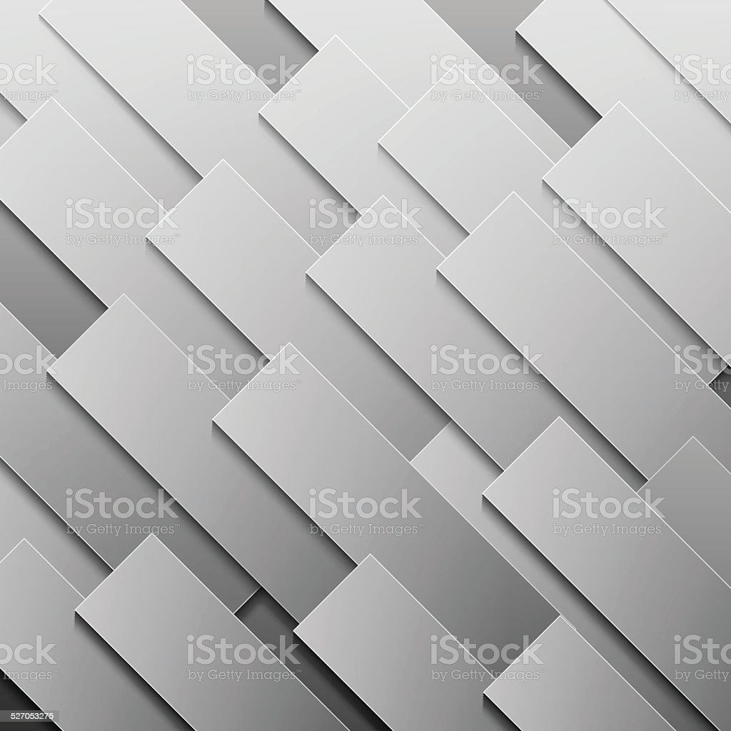 Abstract grey paper rectangle shapes background vector art illustration