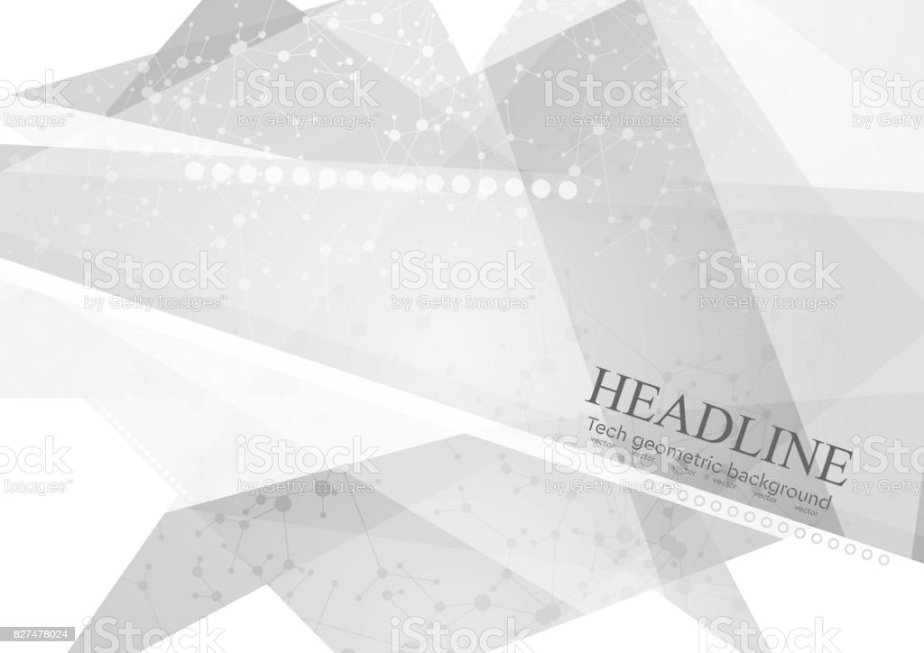 Abstract grey polygonal background with DNA molecular structure vector art illustration