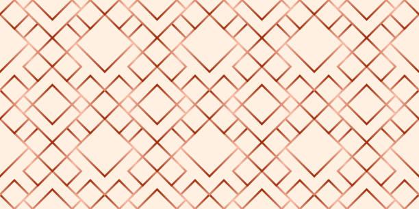 abstrakte rose gold geometrische nahtlose gittermuster - kupfer stock-grafiken, -clipart, -cartoons und -symbole