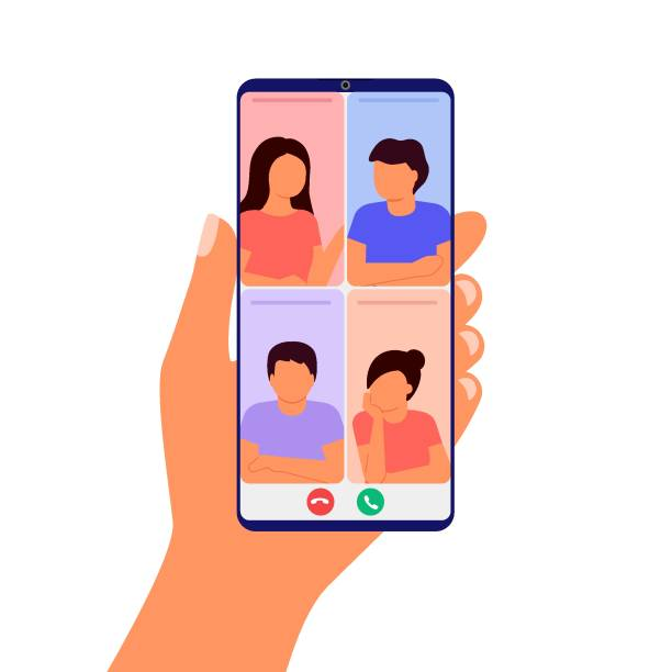 illustrazioni stock, clip art, cartoni animati e icone di tendenza di abstract group of people talking and meeting in video call. hand holding smartphone. working by internet from home. colleagues video online conference. communication call, chat friends. vector - video call