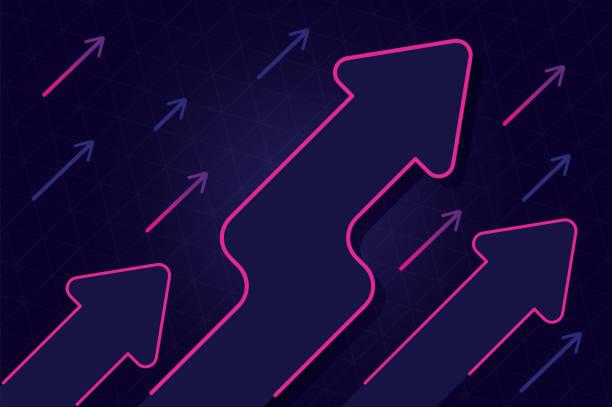 abstrakte wachstumspfeil mit blauen und rosa farbe design vektor hintergrund - heben stock-grafiken, -clipart, -cartoons und -symbole