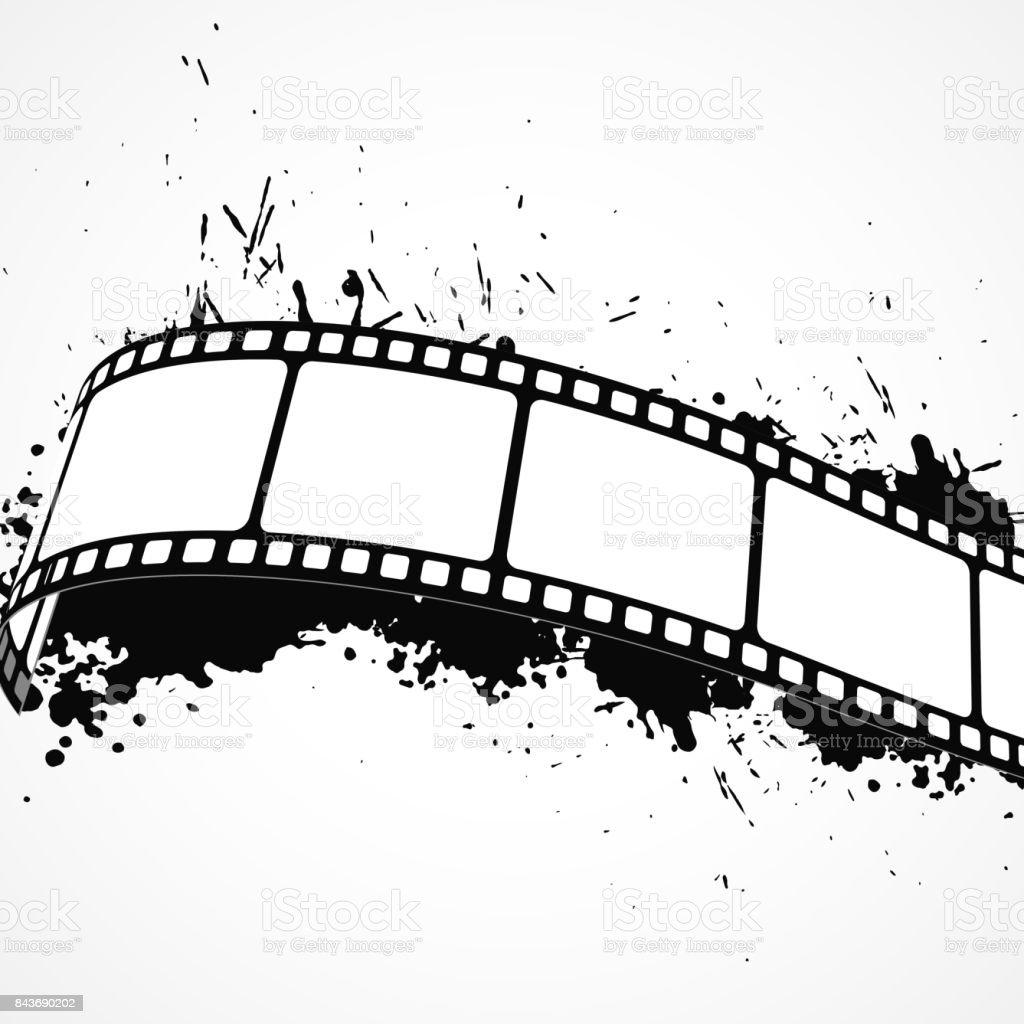 Film şeridi Ile Soyut Grunge Arka Plan Stok Vektör Sanatı Boyanin