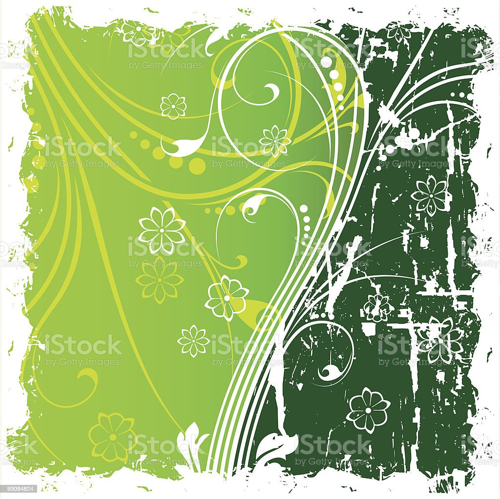 Abstract Grunge Background witn Floral Scrolls royalty-free abstract grunge background witn floral scrolls stock vector art & more images of abstract