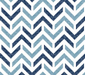 istock Abstract grunge chevron ethnic Ikat geometric seamless pattern. Blue zigzag waves with texture on white background. 1219137997
