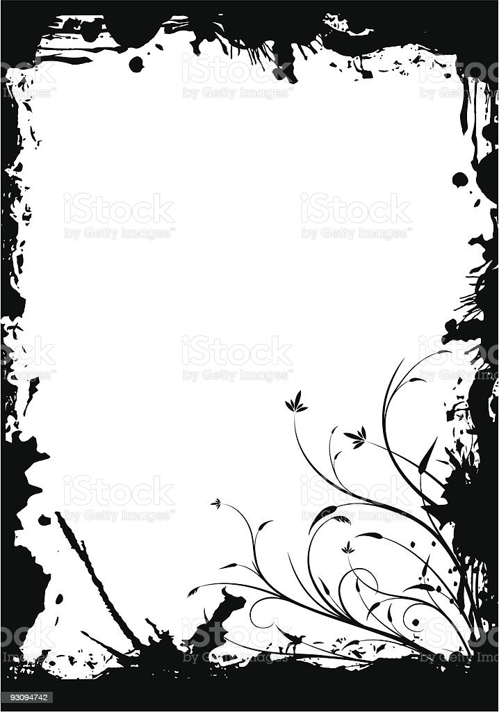 abstract grunge floral decorative black frame vector illustration royalty-free abstract grunge floral decorative black frame vector illustration stock vector art & more images of abstract