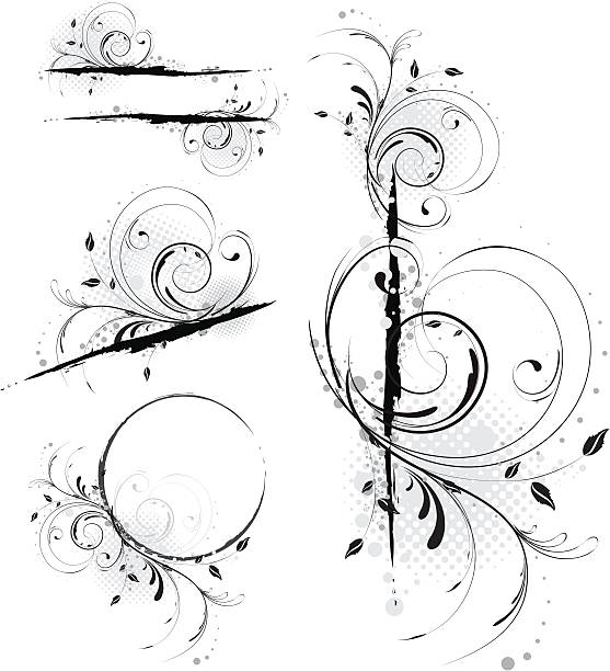 Abstract Grunge Floral Designs. Set of Four. vector art illustration
