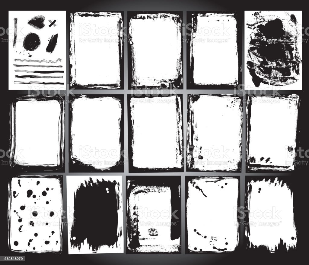 Abstract grunge frame set. Black and white Background template vector vector art illustration