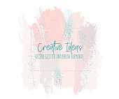 Abstract Grungepink blush strokes with green splattern glitters.  Colorful dynamic drawing. effect Pastel Gold RetroTexture. Trendy Chic Background made in Vector for your design.