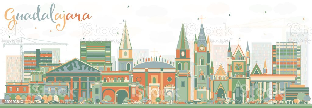 Abstract Guadalajara Skyline with Color Buildings. royalty-free abstract guadalajara skyline with color buildings stock vector art & more images of abstract