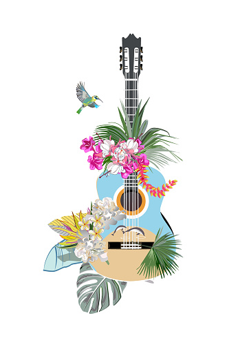 Abstract guitar decorated with summer and spring flowers, palm leaves, notes, birds.