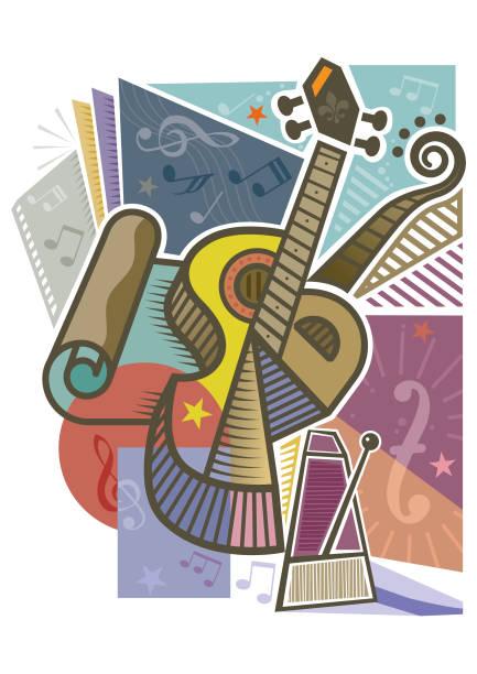 Abstract guitar design element vector art illustration