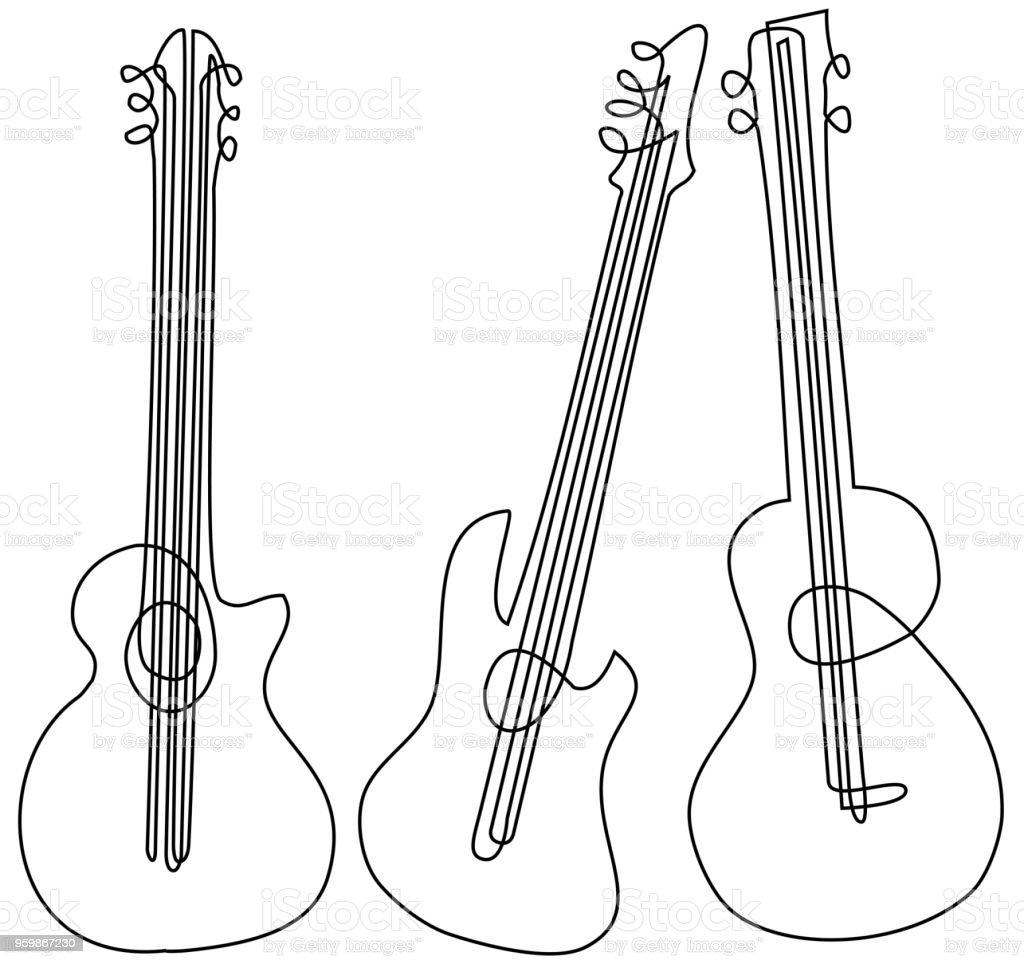 Abstrakte Gitarre Eine Strichzeichnung Stock Vektor Art und mehr ...