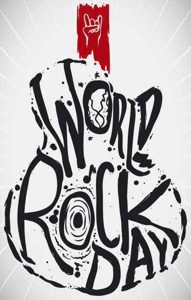 Abstract Guitar with Doodles to Celebrate World Rock Day World Rock Day message in the shape of a guitar, globe and loudspeaker with reminder sign of the horns gesture to celebrate this day. anarchy symbol stock illustrations