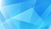 Abstract background of lines, polygons and halftone dots in light blue colors