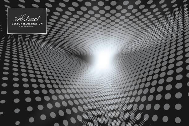 Abstract halftone dots dark background vector art illustration