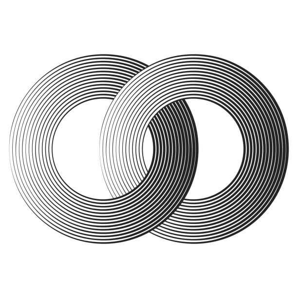 abstract halftone intersected rings black concentric lines with different thickness that makes a two intersected rings. abstract halftone geometric shapes. suitable for logo, product branding etc. crisscross stock illustrations