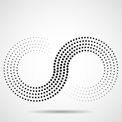 Abstract halftone sign of infinity
