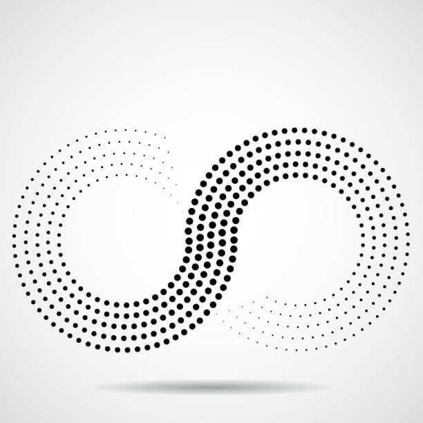 Abstract halftone sign of infinity Abstract, sign, dot, infinity, logo, black infinity stock illustrations