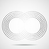 Abstract halftone sign of infinity. Vector logo, design element