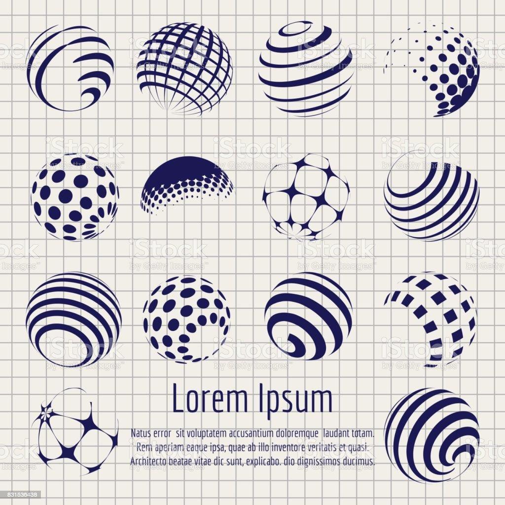 Resumen de la trama de semitonos esferas sketch set - ilustración de arte vectorial