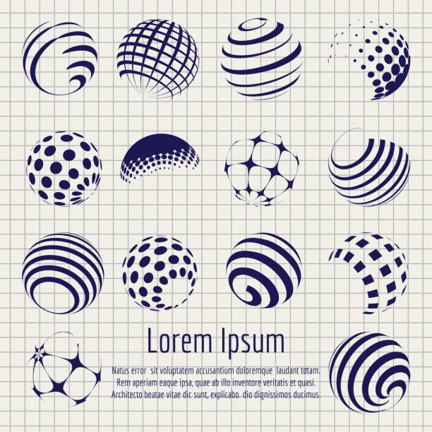 Abstract halftone spheres set sketch vector art illustration