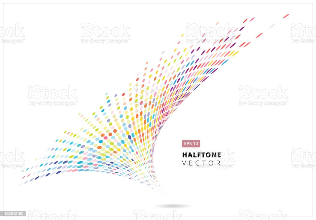 Abstract halftone spiral rainbow dots pattern perspective, storm colorful, isolated on white background, vector vector art illustration