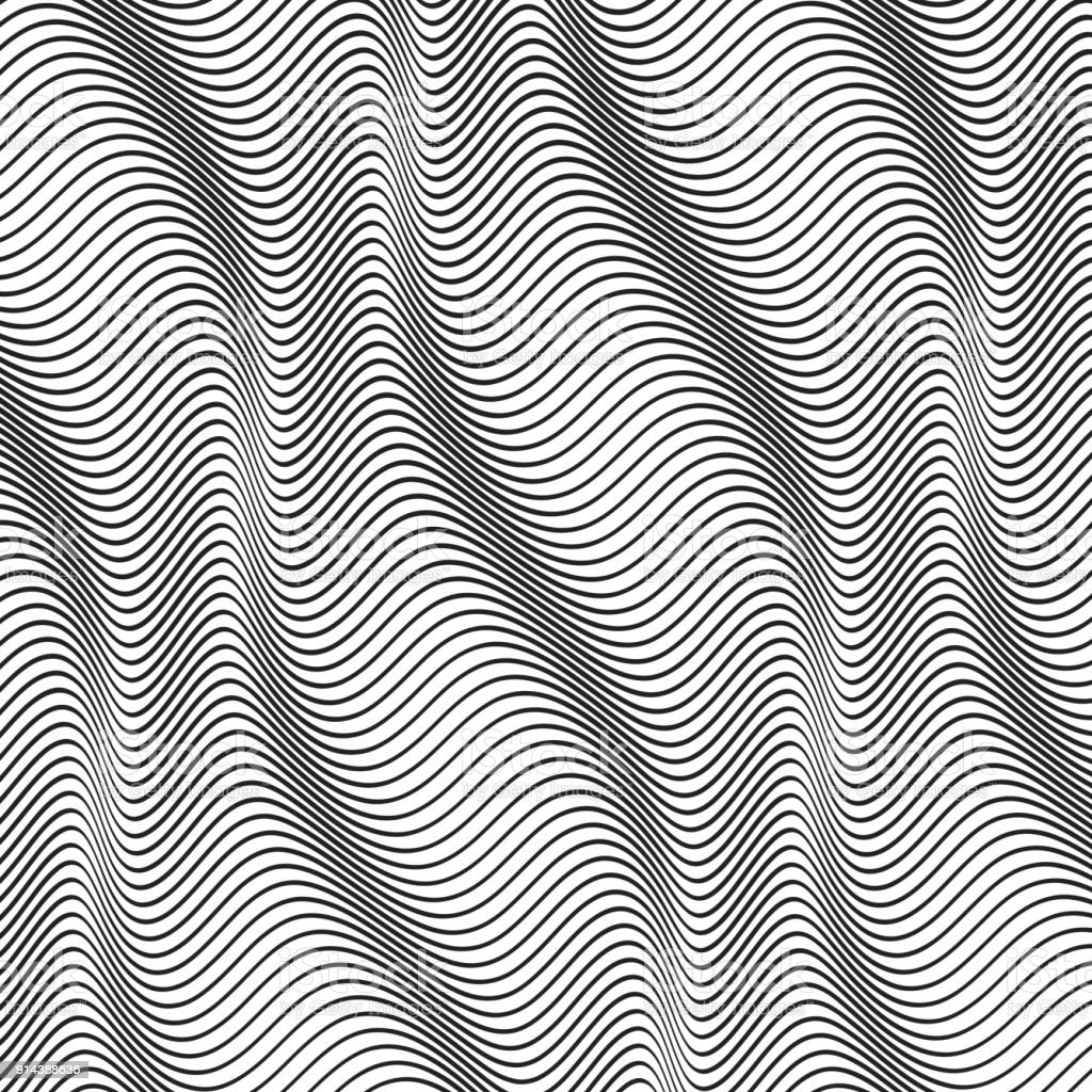 Abstract halftone wavy lines vector art illustration