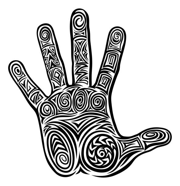 Abstract Hand Concept Pattern Design A hand abstract pattern concept design icon motif maori tattoos stock illustrations