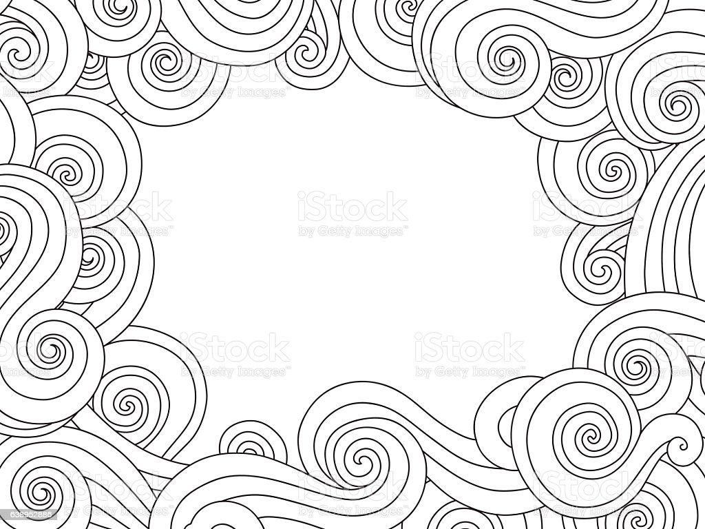 Abstract hand drawn frame, border with outline sea wave background - Illustration vectorielle