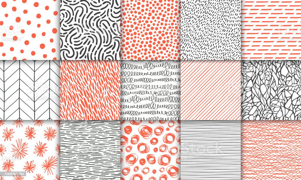 Abstract hand drawn geometric simple minimalistic seamless patterns set. Polka dot, stripes, waves, random symbols textures. Bright colorful vector illustration. Template for your design - Royalty-free Abstrato arte vetorial