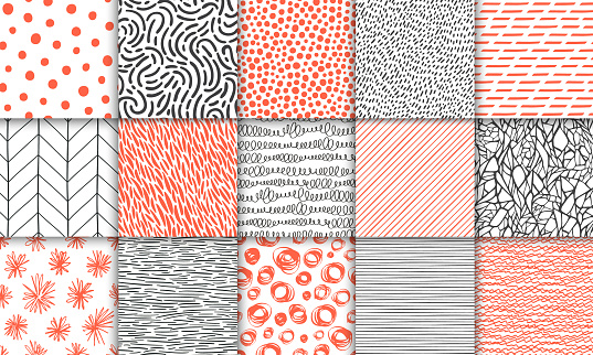 Abstract hand drawn geometric simple minimalistic seamless patterns set. Polka dot, stripes, waves, random symbols textures. Bright colorful vector illustration. Template for your design clipart