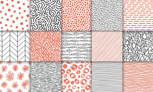 추상 손으로 그려 최소한의 원활한 간단한 기하학적 패턴 세트 폴카 도트 스트라이프 파도 임의의 기호 텍스처 밝은 다채로운 벡터 일러스트입니다 디자인 서식 파일 가능성에 대한 스톡 벡터 아트 및 기타 이미지
