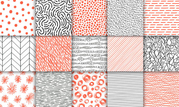 abstract hand drawn geometric simple minimalistic seamless patterns set. polka dot, stripes, waves, random symbols textures. bright colorful vector illustration. template for your design - book backgrounds stock illustrations