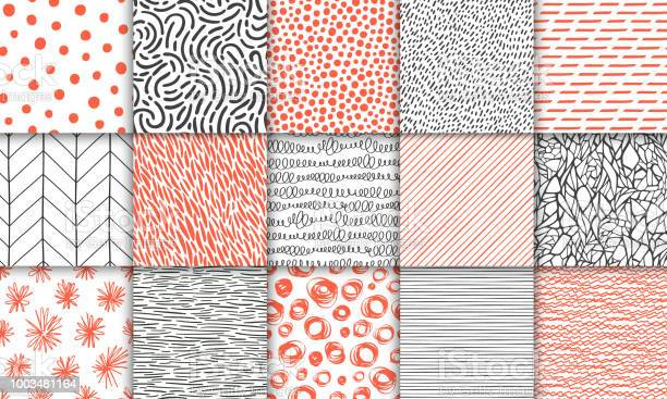 Abstract Hand Drawn Geometric Simple Minimalistic Seamless Patterns Set Polka Dot Stripes Waves Random Symbols Textures Bright Colorful Vector Illustration Template For Your Design - Arte vetorial de stock e mais imagens de Abstrato