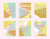 Abstract hand drawn geometric summer cards