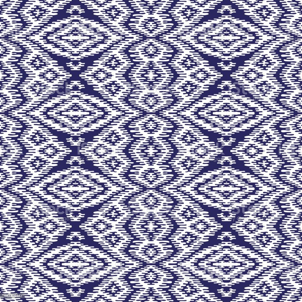 Abstract hand drawn geometrical seamless Ikat pattern from decorative ethnic ornament, Blue indigo and white background. Batik, wallpaper, wrapping paper, shibori ornament, tie dye textile print, cotton vector art illustration